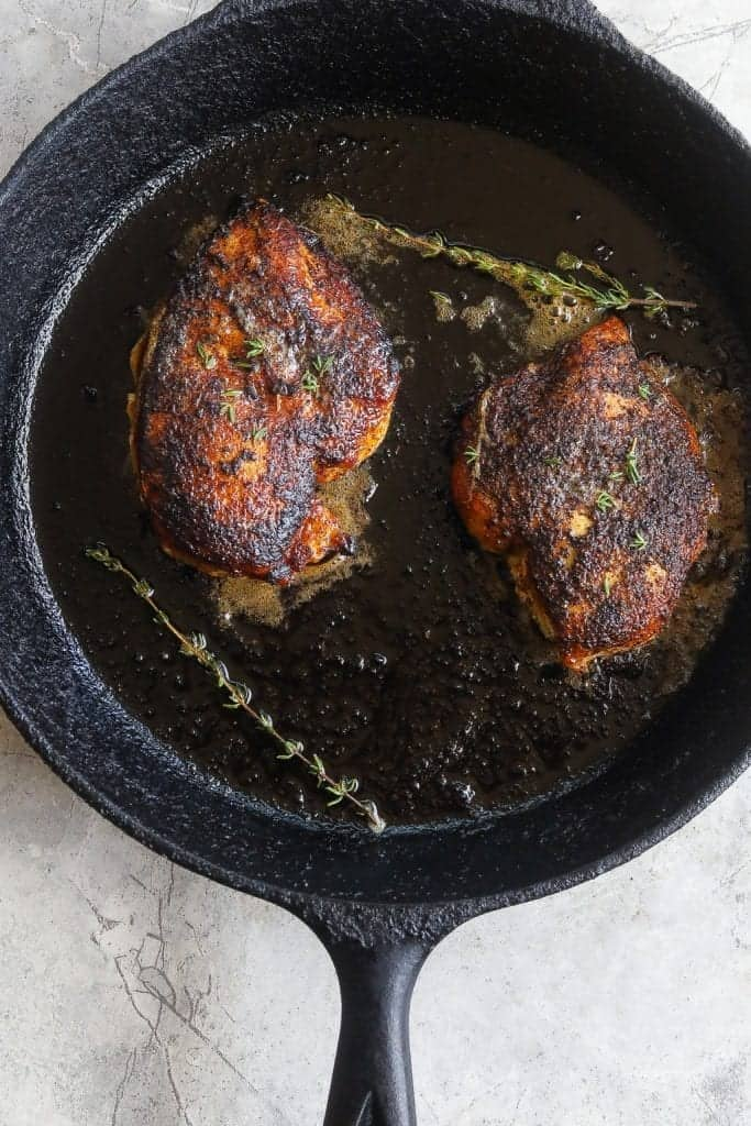 blackened chicken in cast iron skillet