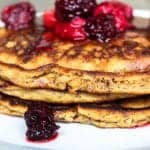 """""""flap jacks"""" Gluten Free Pancakes with Mixed Berry Compote"""