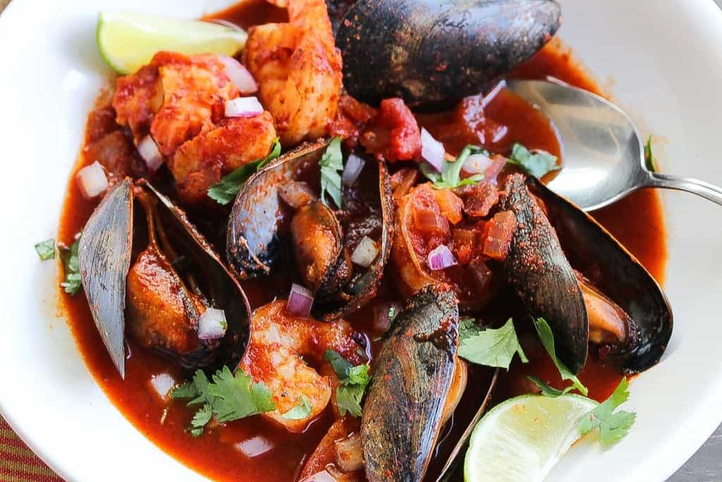 mexican seafood stew in a bowl