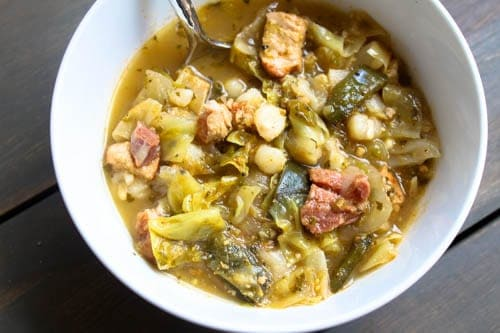 Cabbage poblano pozole soup in a bowl