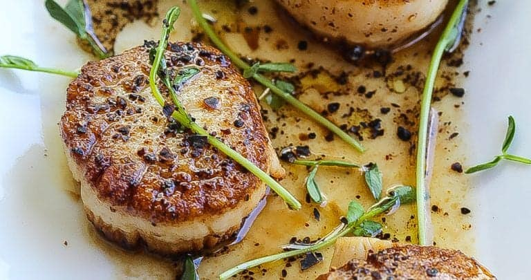 """""""Don't Disturb This Groove"""" Pan Seared Scallops with Coffee Vinaigrette"""