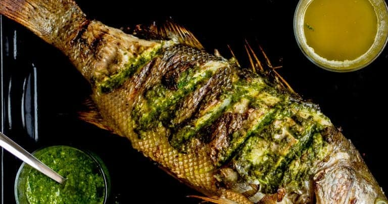 """""""Keep Looking"""" Whole Roasted Black Bass with Beet Greens Salsa"""