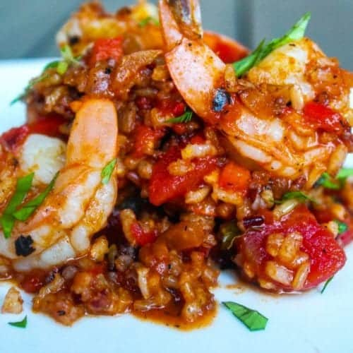 Simple and delicious Red Rice with Jumbo Shrimp