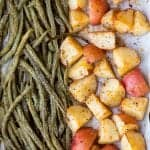 sheet pan green beans and new potatoes