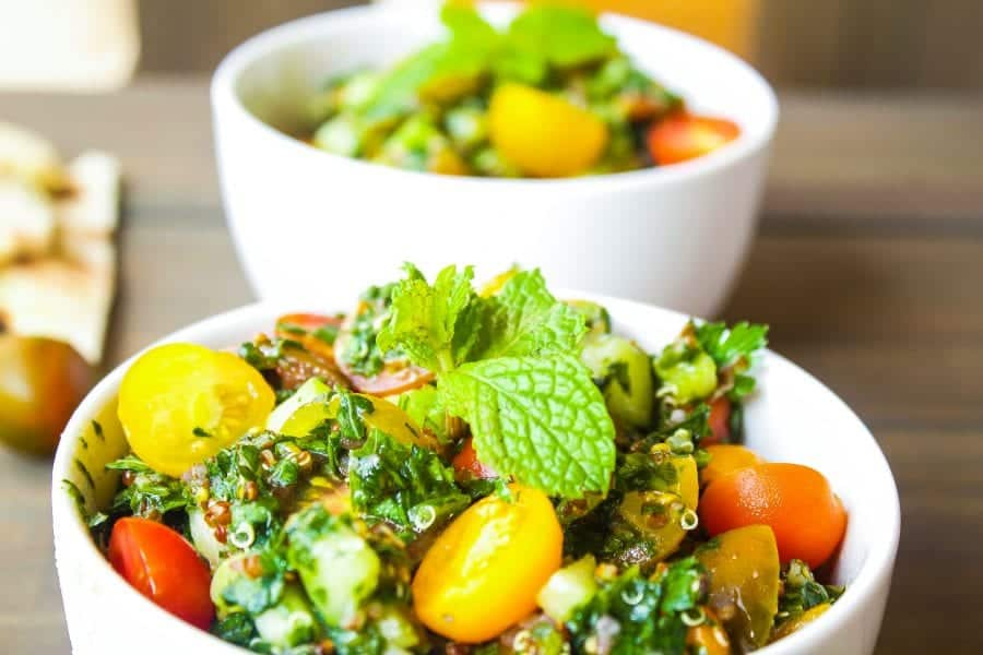 This turnip greens tabbouleh recipe is a twist on Lebanese tabbouleh salad. It is a simple & tasty vegan option. The turnip greens & cherry tomatoes are a great fit with fresh mint & parsley.