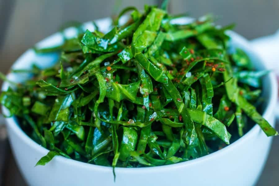 Raw Collard Greens Chiffonade