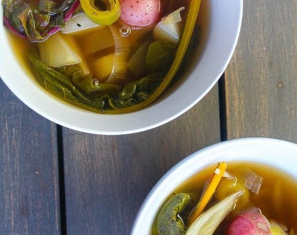 Poached Vegetables in Smokey Ginger Lemongrass Broth