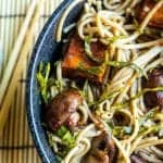 stir fried Soba Noodles bowl with roasted sweet potatoes, mushrooms, and collard greens.