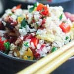 smoked brisket fried coconut rice in a bowl