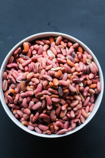 raw vegan red beans in a bowl