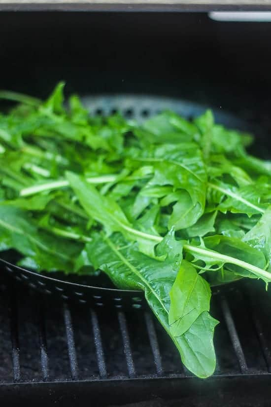 grilled bitter greens on a grill