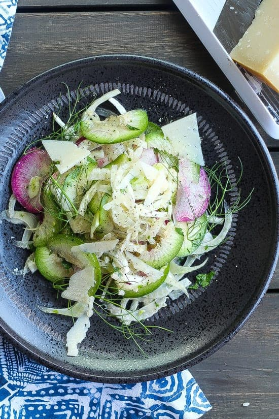 shaved fennel salad on a plate