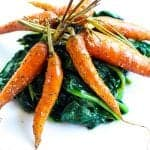 simple smoked carrots with spinach