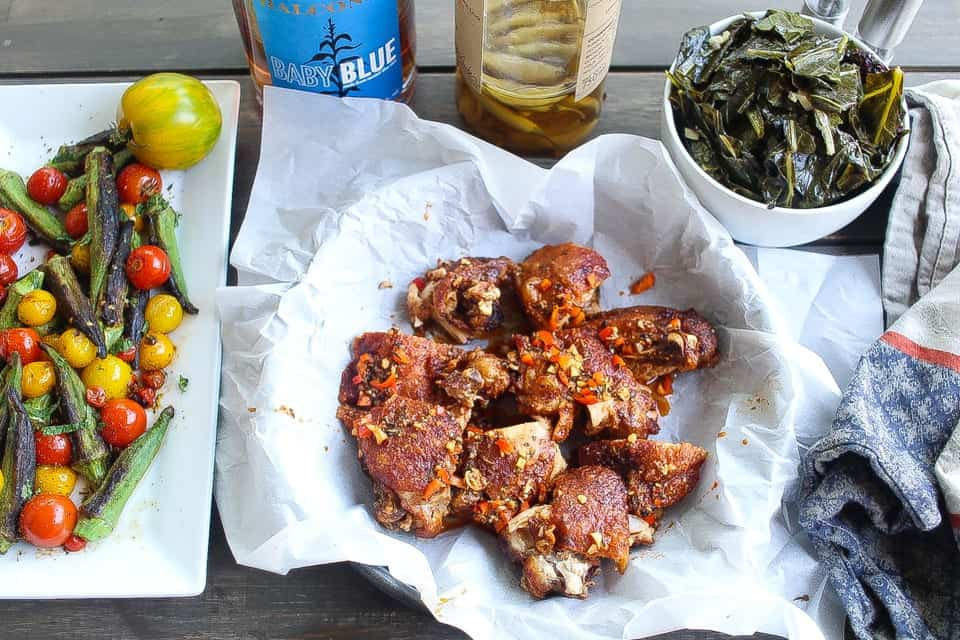 naked fried chicken with spicy vinaigrette