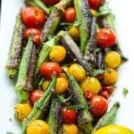 """Crispy"" 5 ingredient blistered okra and tomatoes"