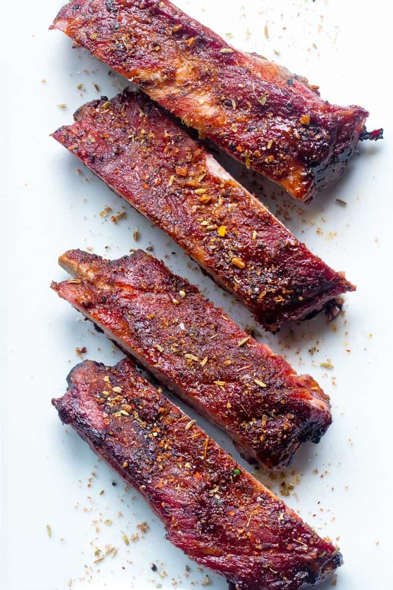 smoked pork ribs with African spice rub