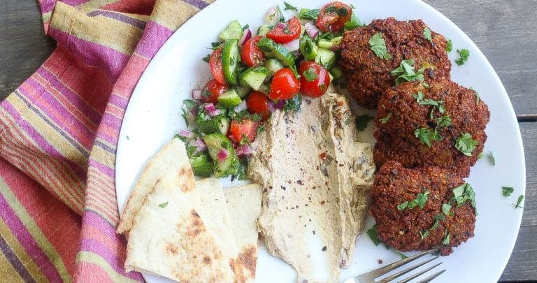 """Complexion"" Blackeyed Pea Falafel Cakes with Spicy Tahini Sauce"