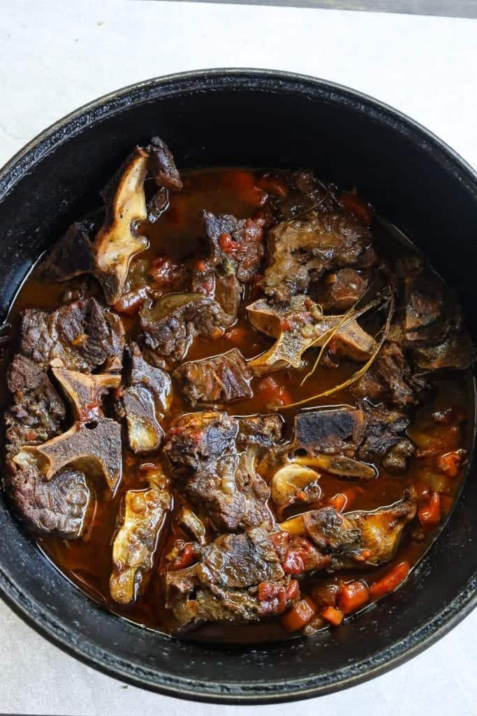 braised beef neck bones in a pot
