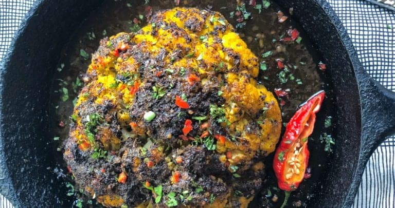 """jerk out"" whole roasted jerk cauliflower"