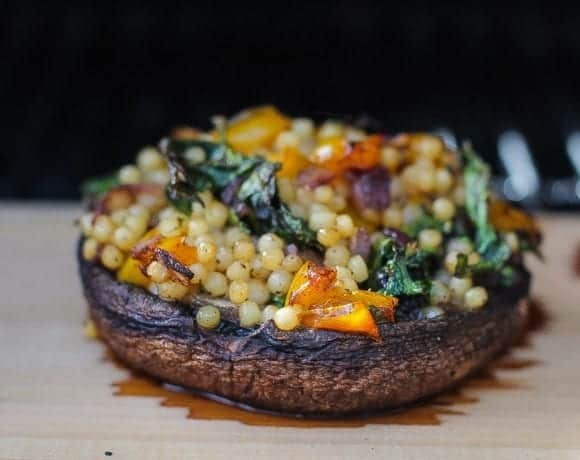 smoked stuffed mushrooms with kale and couscous