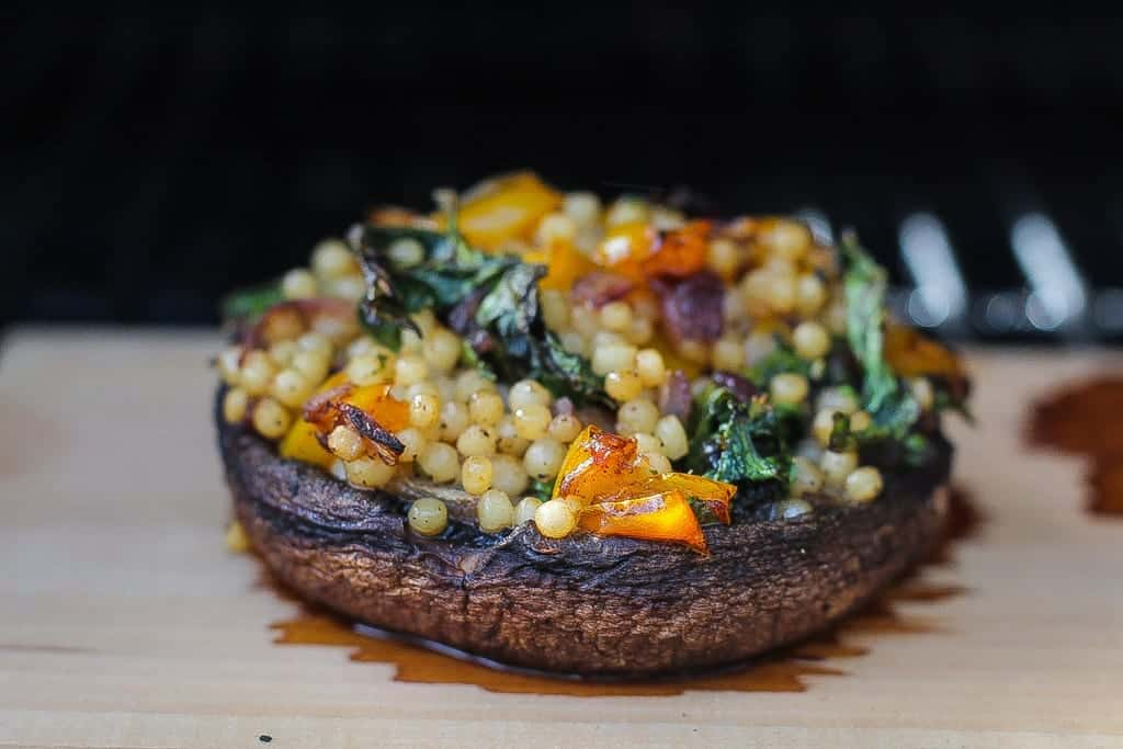 Cedar Plank Smoked Stuffed Portobello Mushrooms