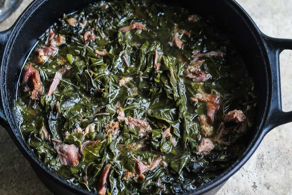 southern collard greens with smoked turkey in a bowl