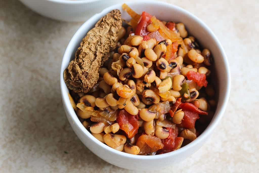 meatless instant pot vegan black eyed peas recipe in a white bowl