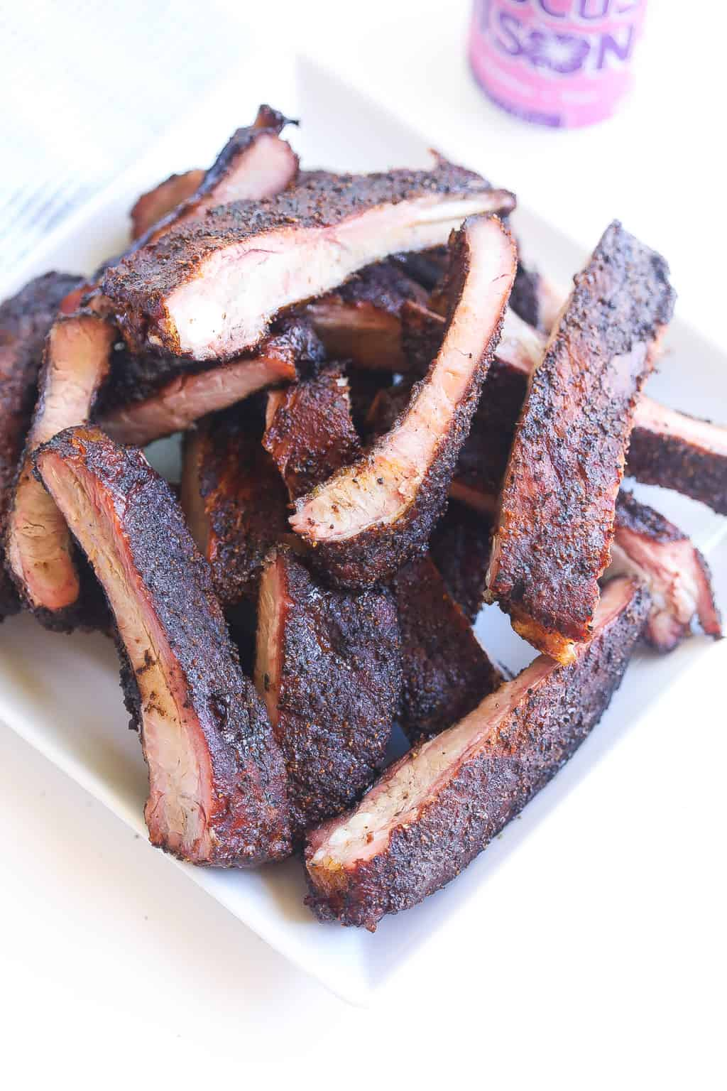 slow smoked pork spare ribs with dry rub