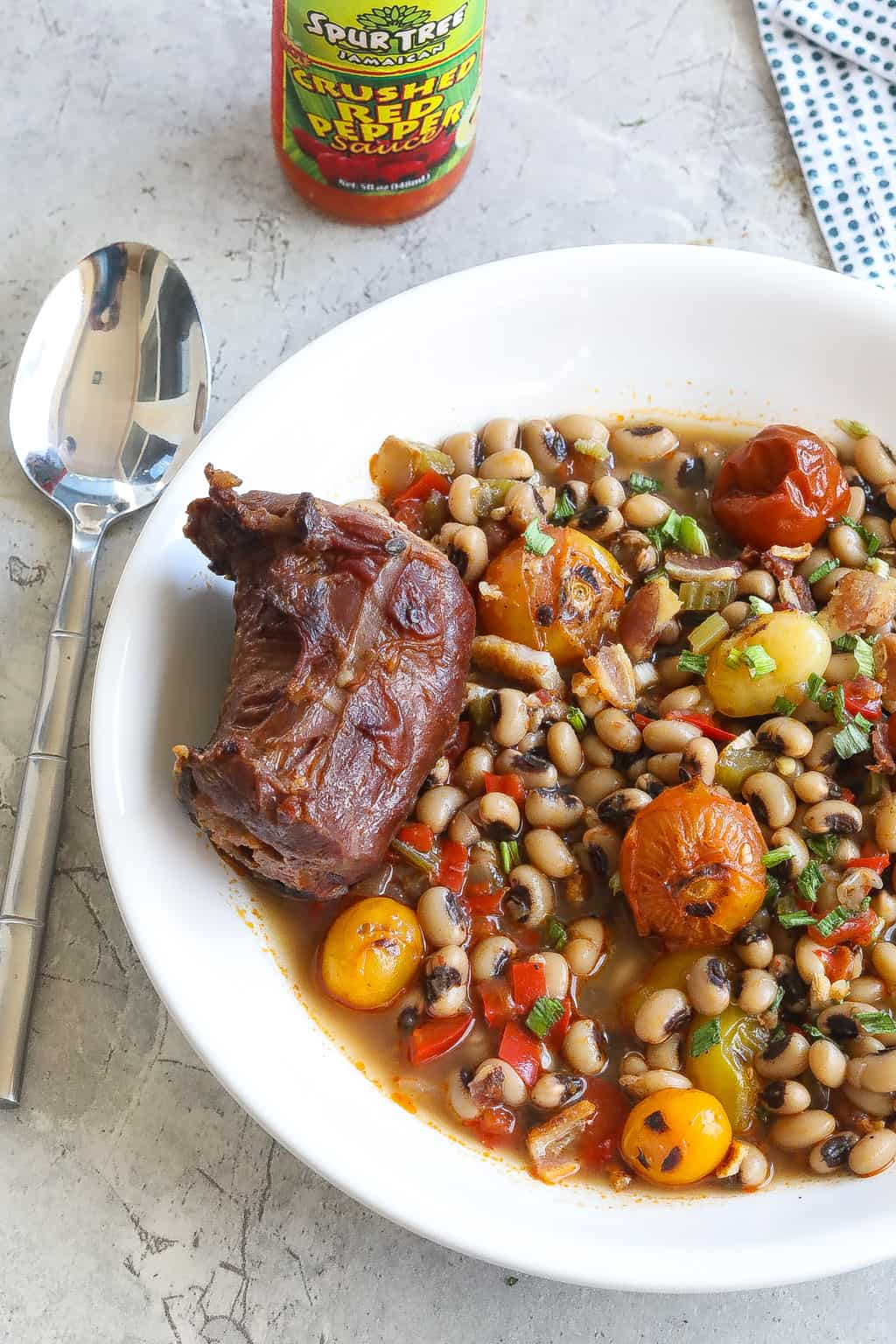 black eyed pea soup in white bow