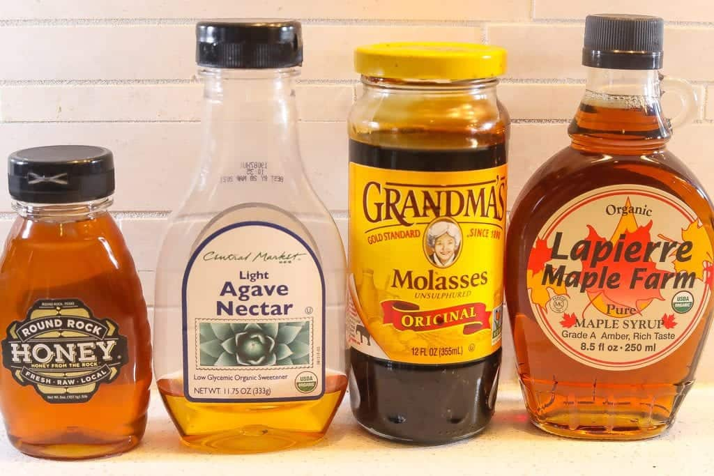 bottled sweeteners - honey, agave, maple syrup, molasses