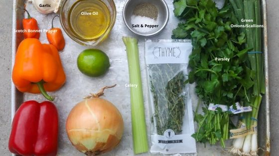 epis ingredients on a tray