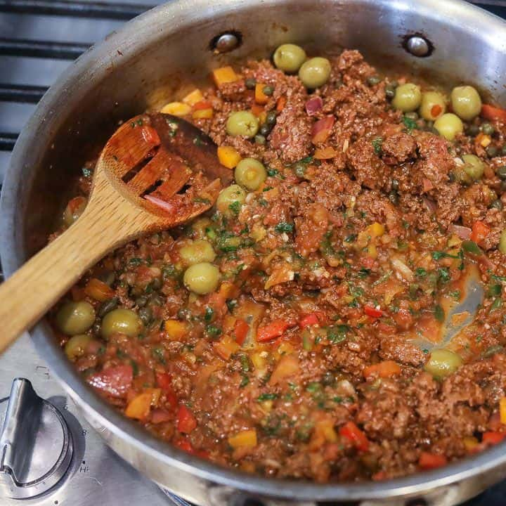 picadillo cooking in a skillet