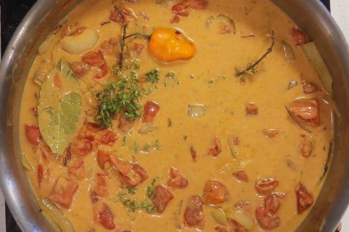 curry sauce cooking in skillet