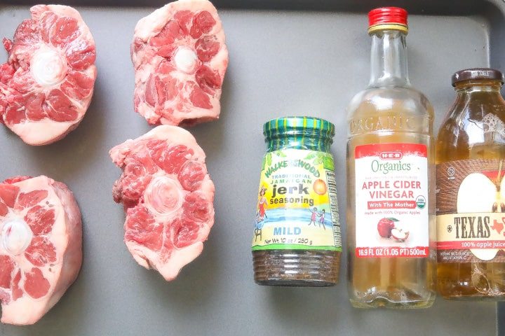 jerk oxtail ingredients on a tray