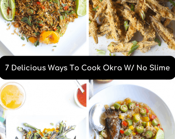 collage of okra recipes
