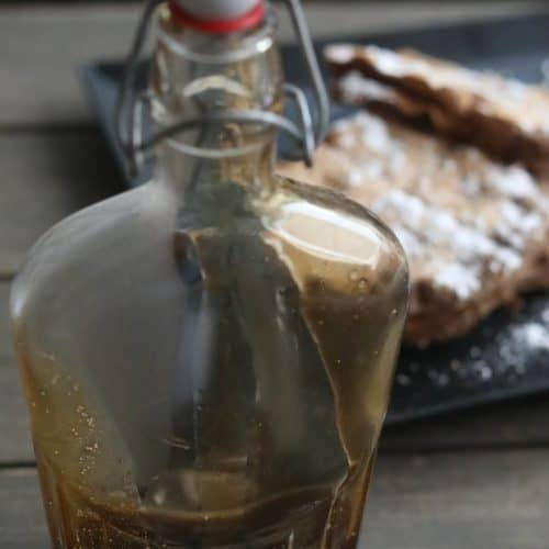 homemade syrup in a glass bottle