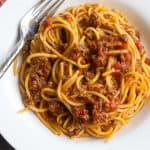 spaghetti with meat sauce in a bowl