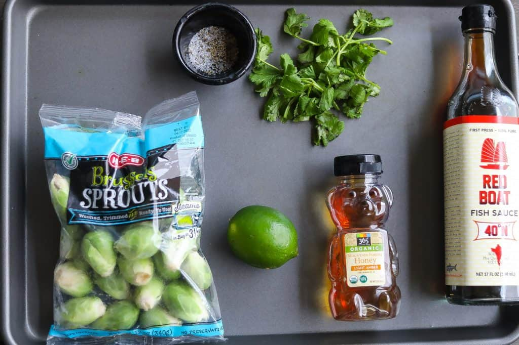 brussel sprouts ingredients on a tray