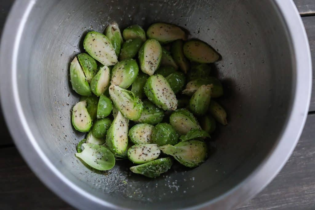 brussel sprouts halves in a bowl