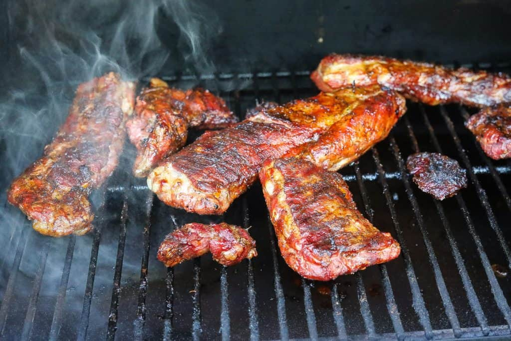 Rib Tips Smoking on the grill