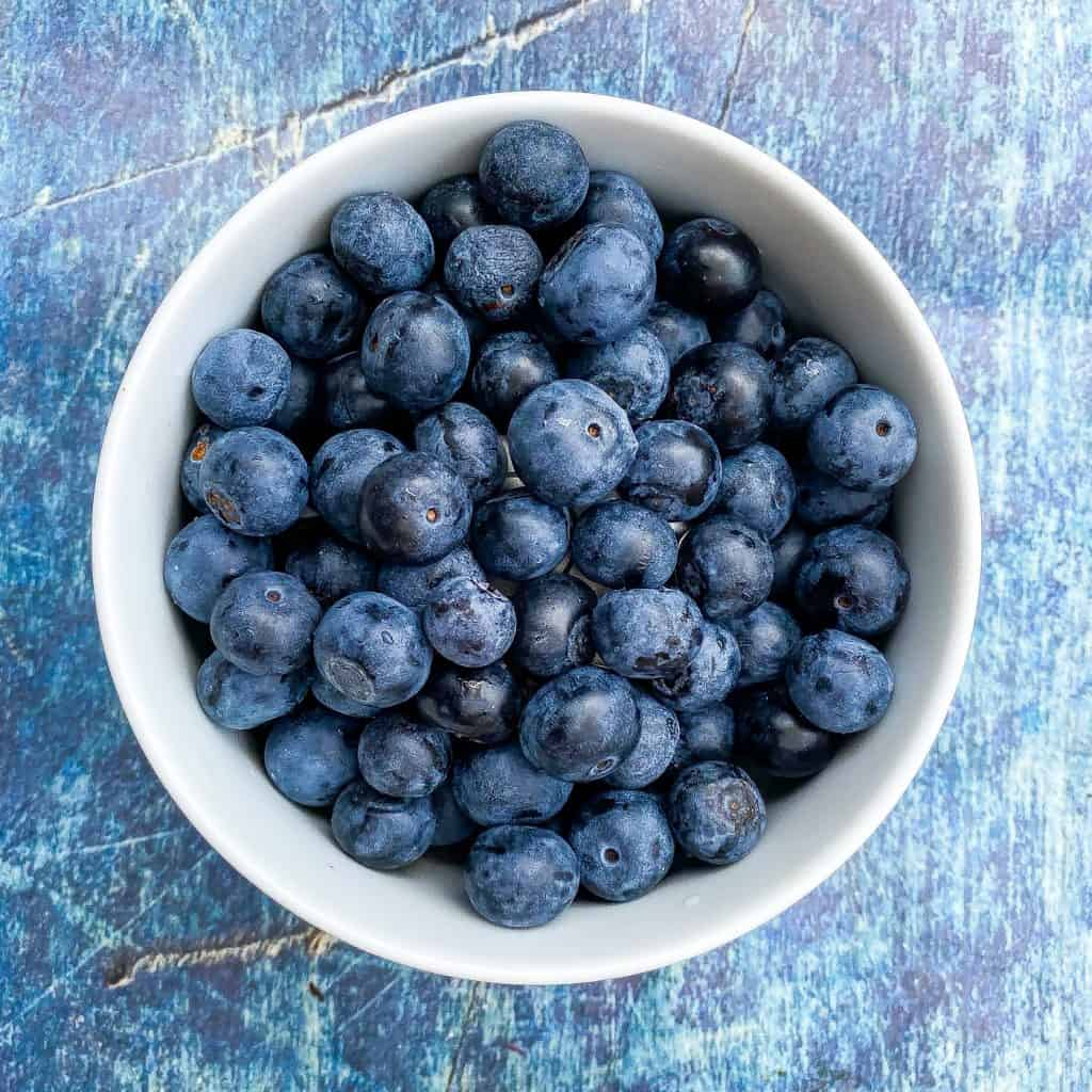 blueberries in a white bowl