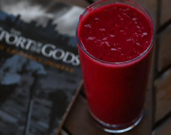Raspberry smoothie on a table