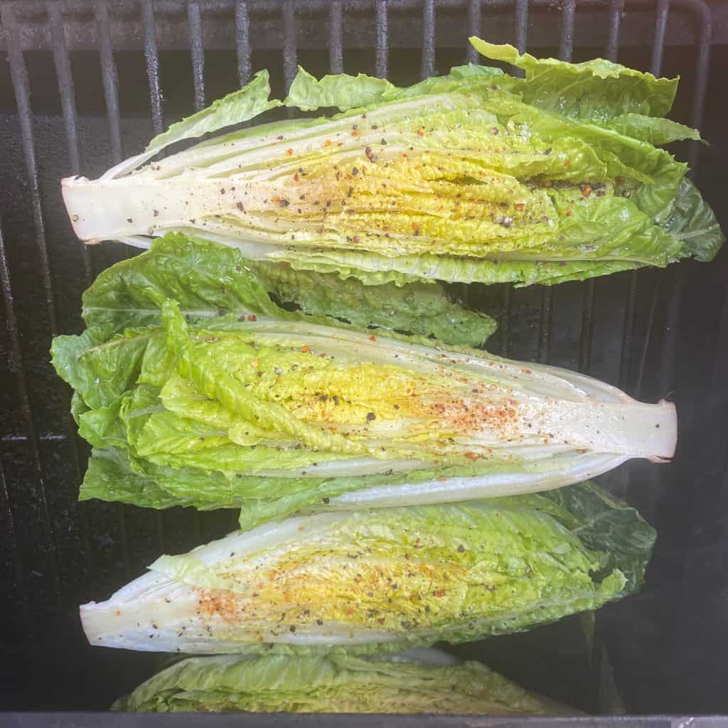 romaine lettuce hearts on the grill
