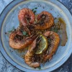 grilled prawns topped with lemon butter sauce