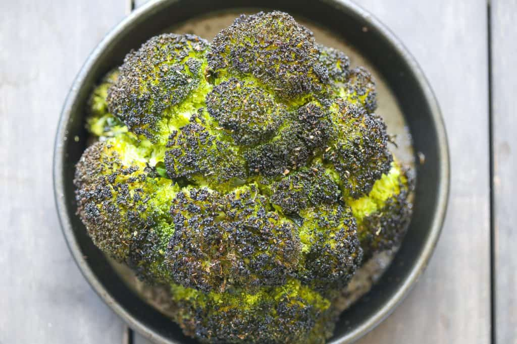 roasted broccoli in a round pan