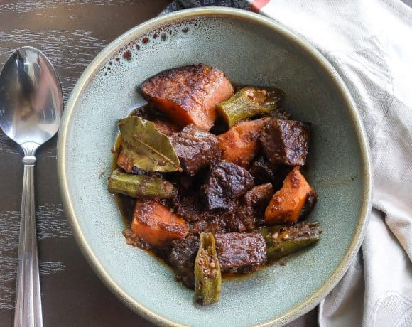 Beef stew with sweet potatoes in green bowl