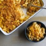 mac and cheese in blue bowl