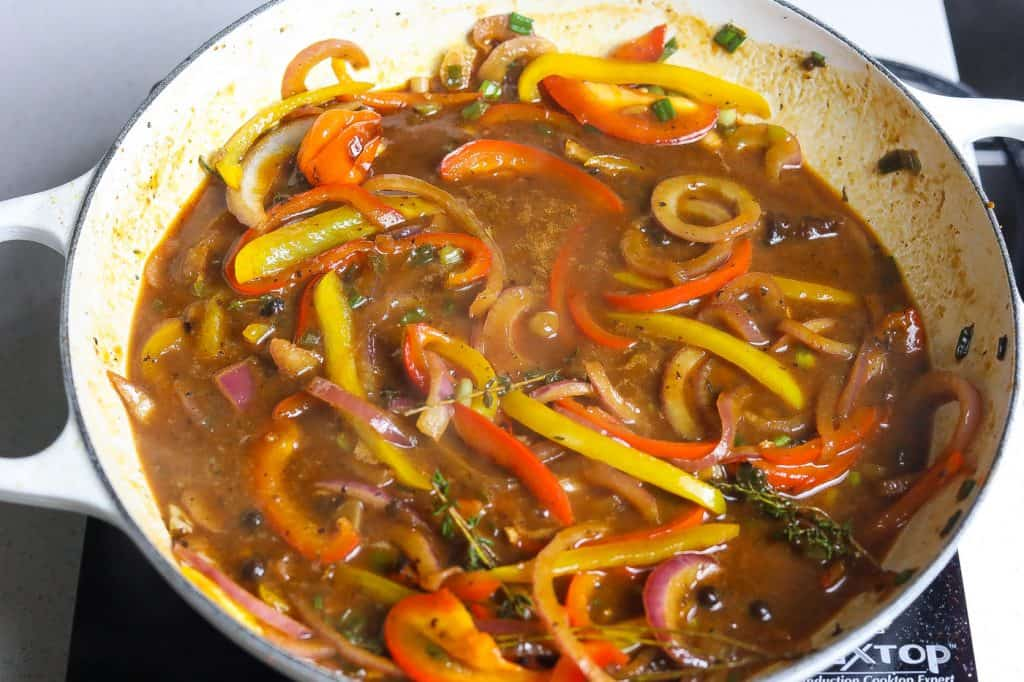 sauce in pot with peppers