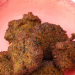 blackeyed pea falafel on a pink plate
